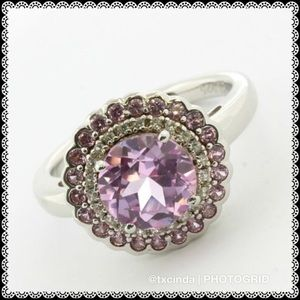 Pink Topaz & White Sapphire Stones in Silver Ring